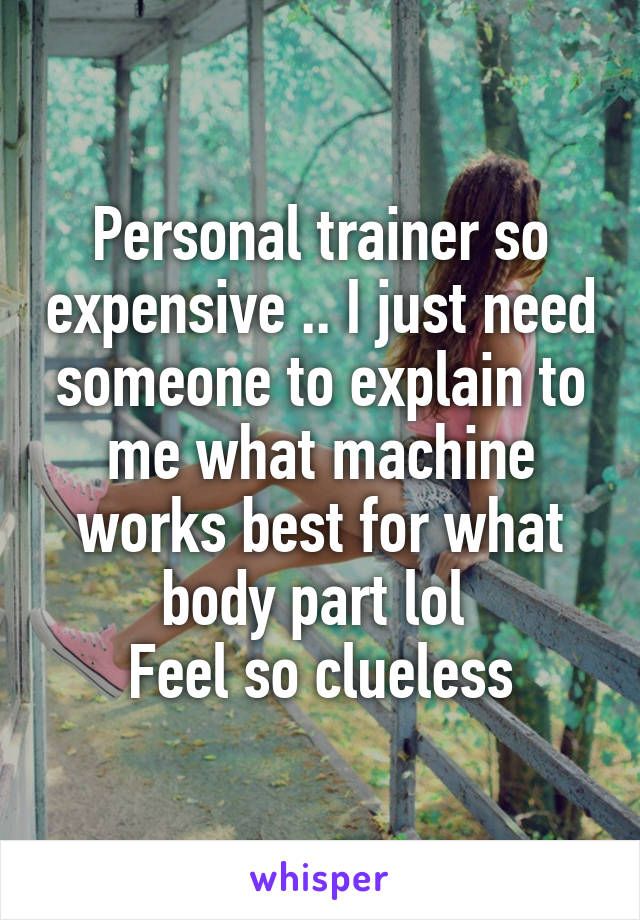 Personal trainer so expensive .. I just need someone to explain to me what machine works best for what body part lol  Feel so clueless