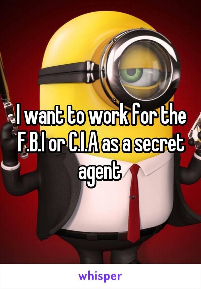I want to work for the F.B.I or C.I.A as a secret agent