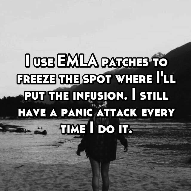 I use EMLA patches to freeze the spot where I'll put the infusion. I still have a panic attack every time I do it.