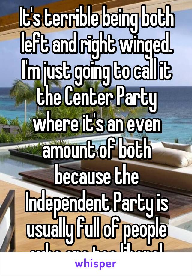 It's terrible being both left and right winged. I'm just going to call it the Center Party where it's an even amount of both because the Independent Party is usually full of people who are too liberal