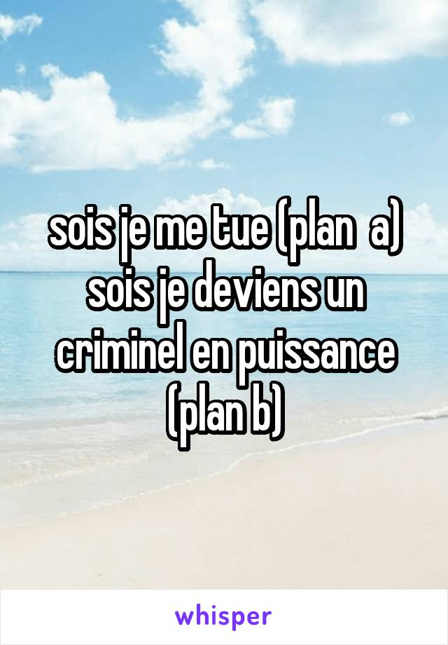 sois je me tue (plan  a) sois je deviens un criminel en puissance (plan b)