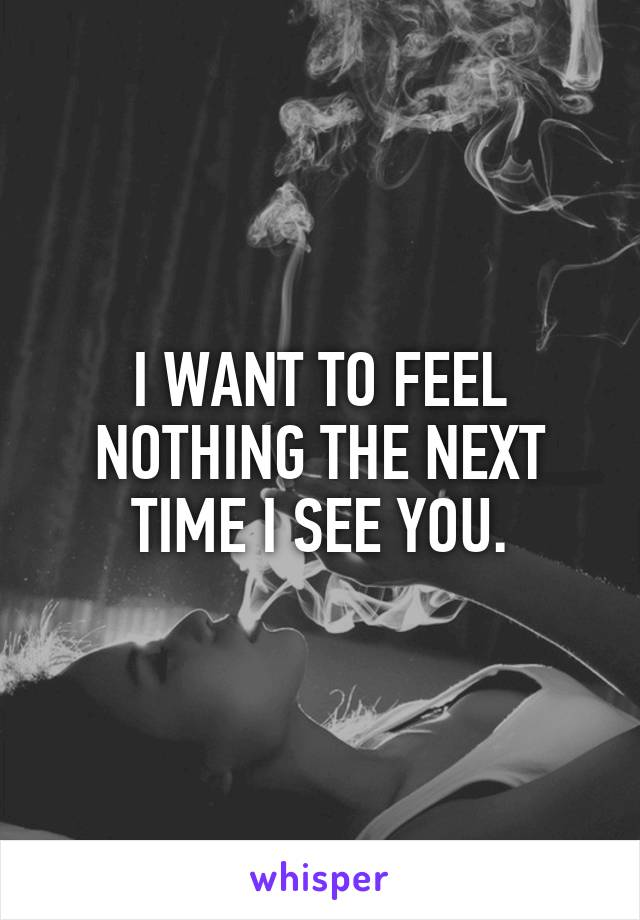 I WANT TO FEEL NOTHING THE NEXT TIME I SEE YOU.