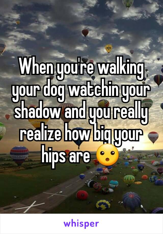 When you're walking your dog watchin your shadow and you really realize how big your hips are 😮