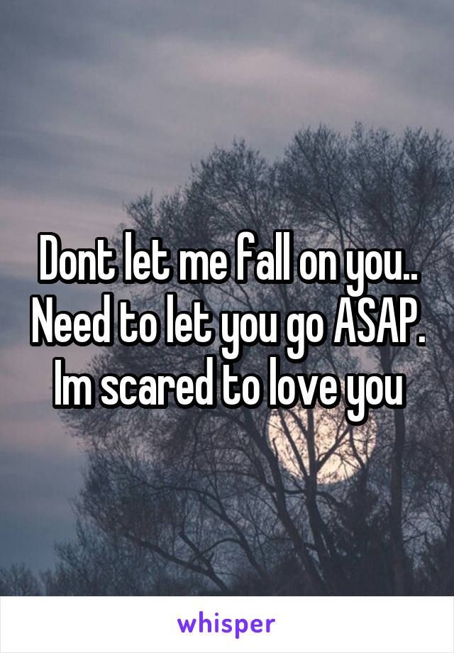 Dont let me fall on you.. Need to let you go ASAP. Im scared to love you