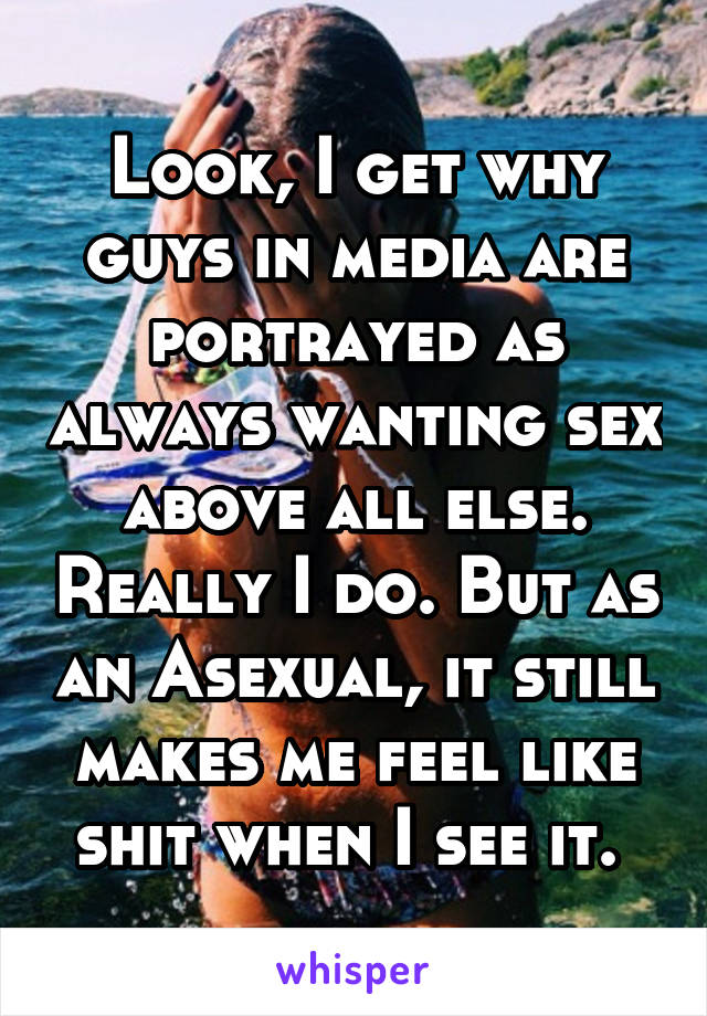 Look, I get why guys in media are portrayed as always wanting sex above all else. Really I do. But as an Asexual, it still makes me feel like shit when I see it.
