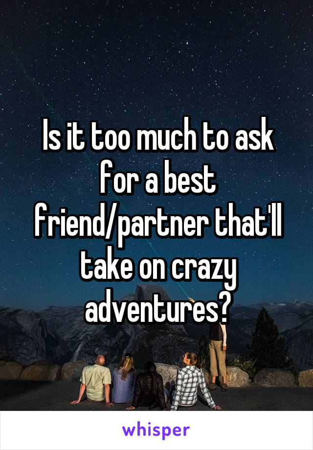 Is it too much to ask for a best friend/partner that'll take on crazy adventures?