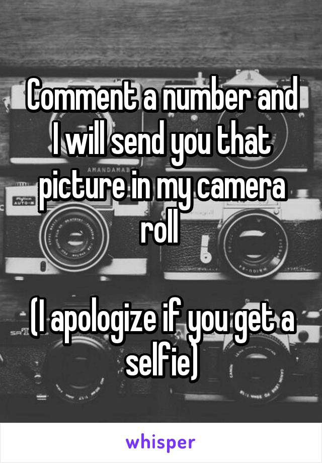 Comment a number and I will send you that picture in my camera roll   (I apologize if you get a selfie)