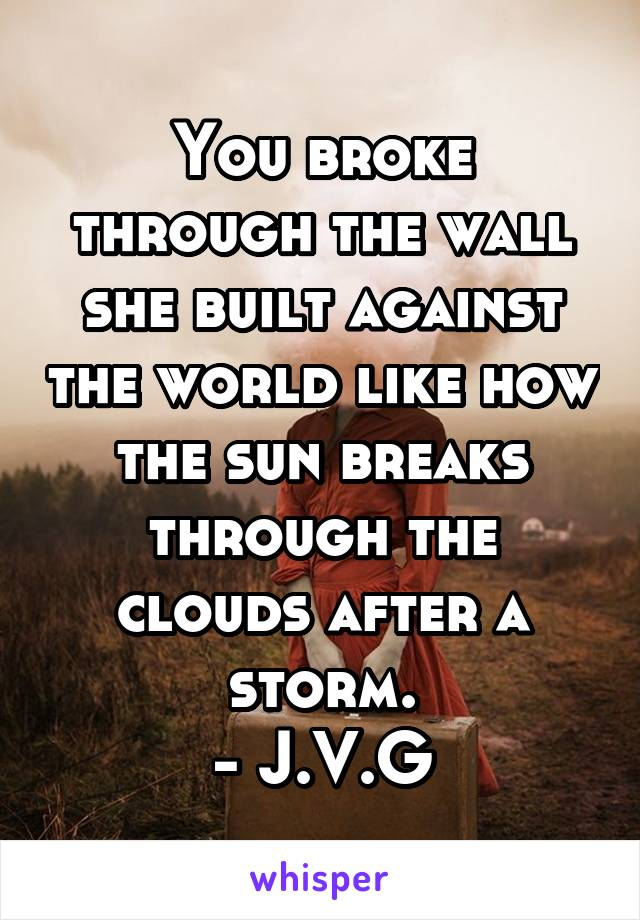 You broke through the wall she built against the world like how the sun breaks through the clouds after a storm. - J.V.G