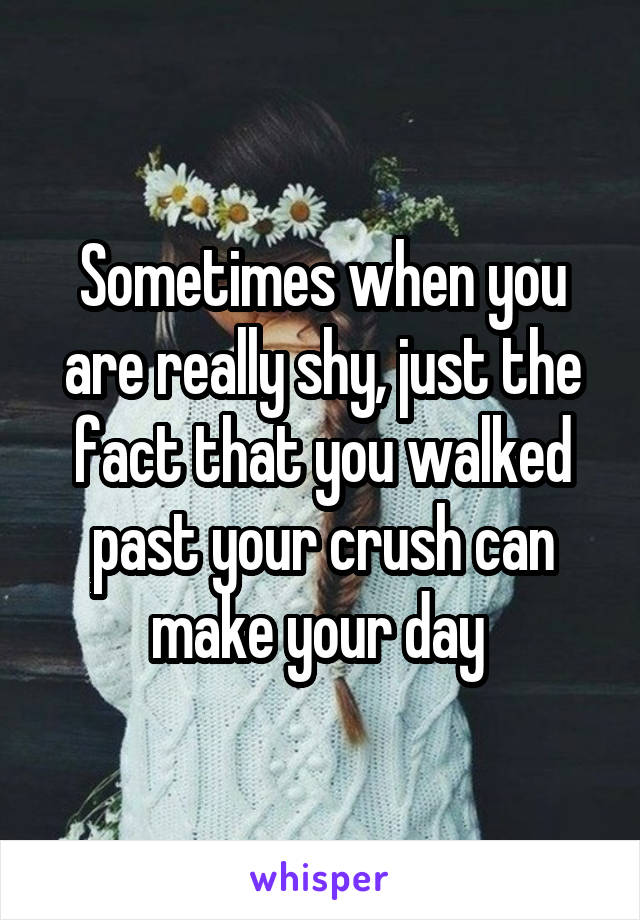 Sometimes when you are really shy, just the fact that you walked past your crush can make your day