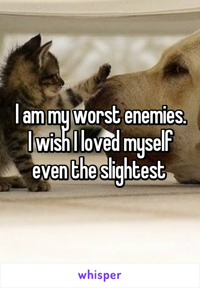 I am my worst enemies. I wish I loved myself even the slightest