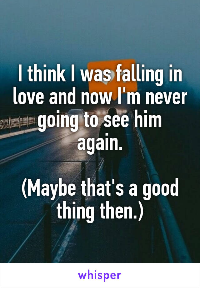 I think I was falling in love and now I'm never going to see him again.  (Maybe that's a good thing then.)