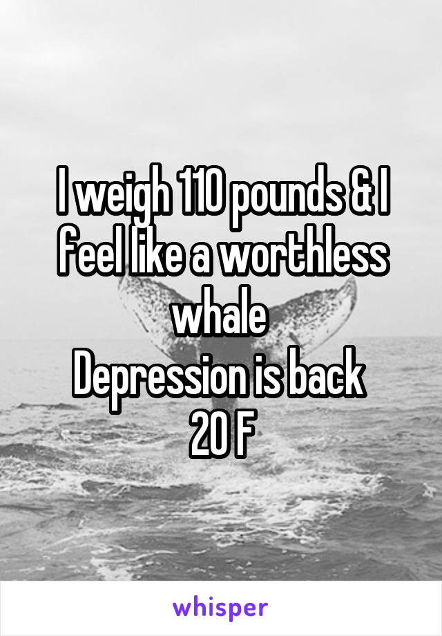 I weigh 110 pounds & I feel like a worthless whale  Depression is back  20 F