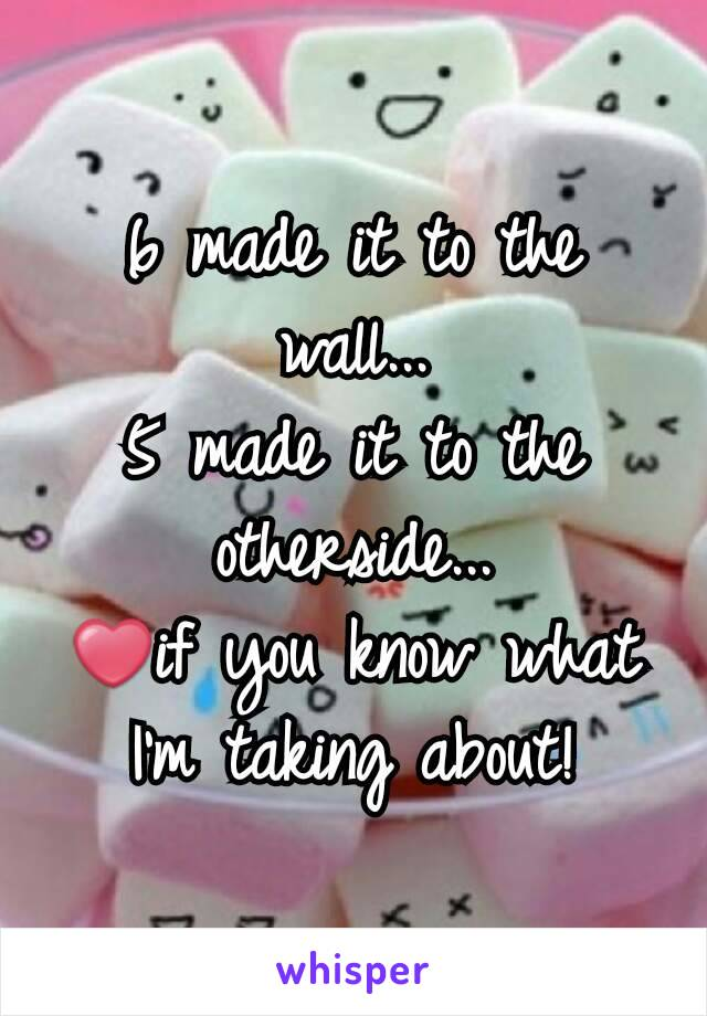 6 made it to the wall... 5 made it to the otherside... ❤if you know what I'm taking about!