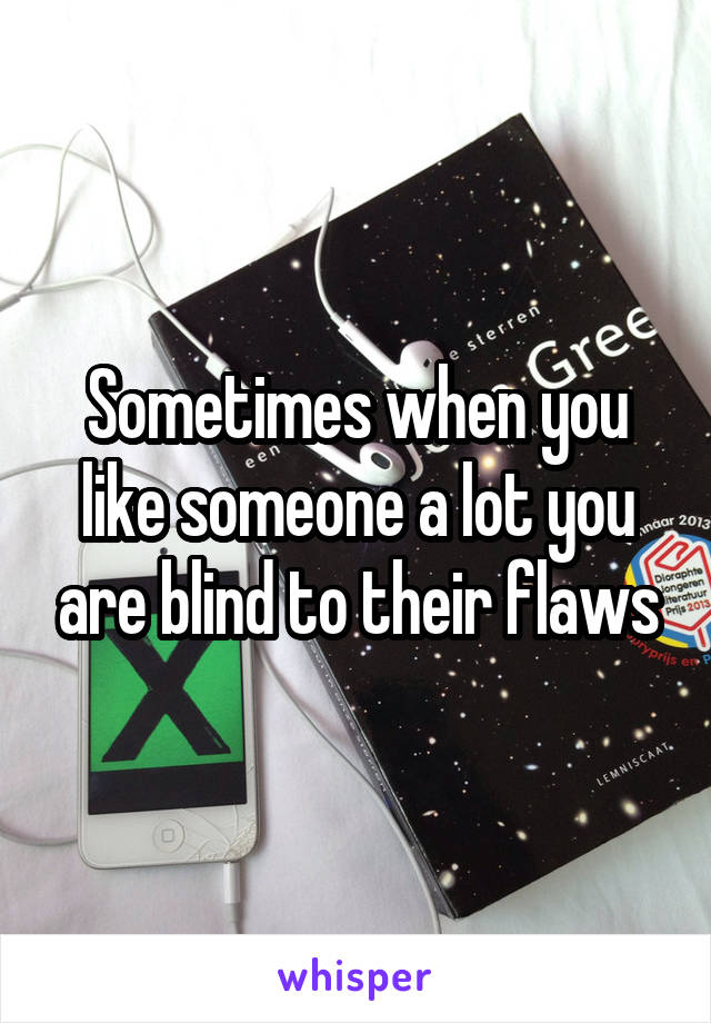 Sometimes when you like someone a lot you are blind to their flaws