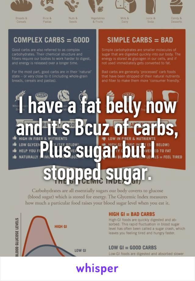 I have a fat belly now and it's Bcuz of carbs, Plus sugar but I stopped sugar.