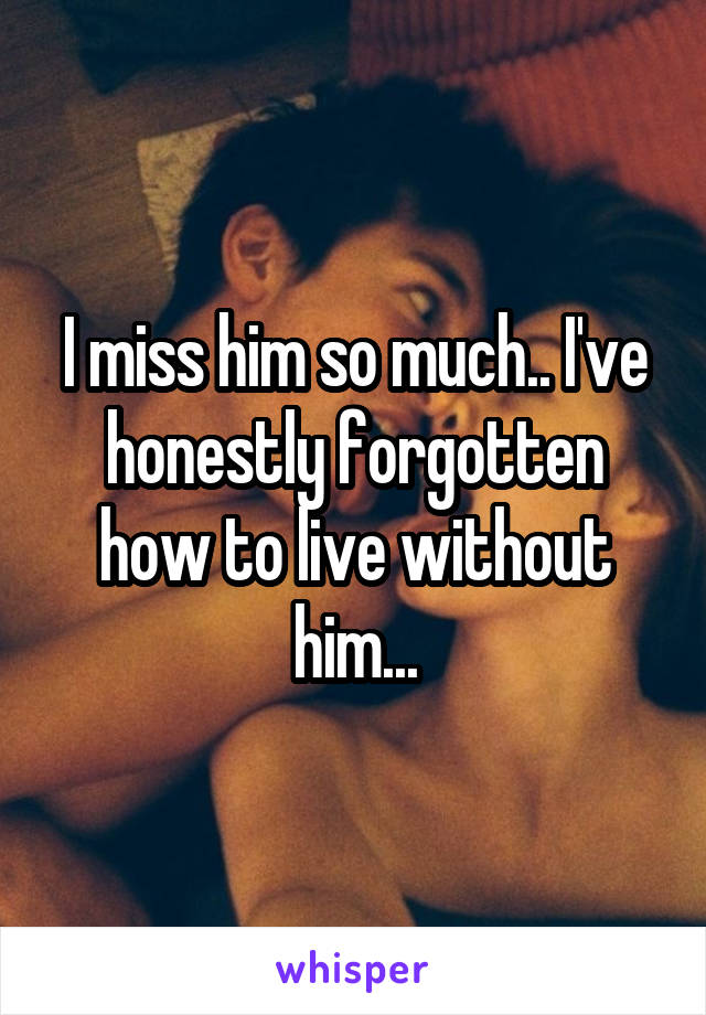 I miss him so much.. I've honestly forgotten how to live without him...