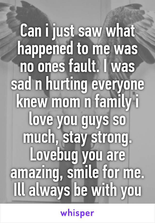 Can i just saw what happened to me was no ones fault. I was sad n hurting everyone knew mom n family i love you guys so much, stay strong. Lovebug you are amazing, smile for me. Ill always be with you