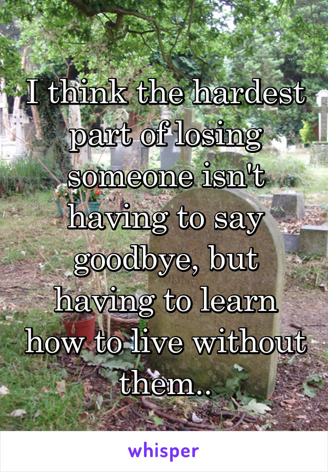 I think the hardest part of losing someone isn't having to say goodbye, but having to learn how to live without them..