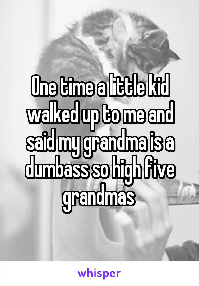 One time a little kid walked up to me and said my grandma is a dumbass so high five grandmas