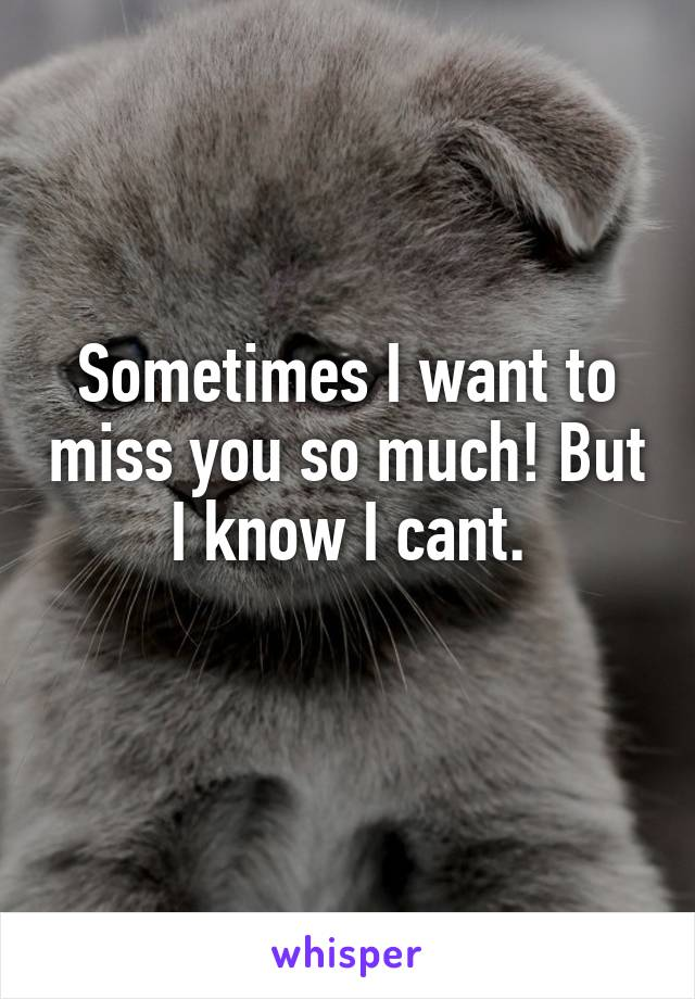 Sometimes I want to miss you so much! But I know I cant.