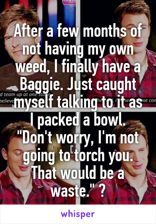 """After a few months of not having my own weed, I finally have a Baggie. Just caught myself talking to it as I packed a bowl. """"Don't worry, I'm not going to torch you. That would be a waste."""" 😂"""