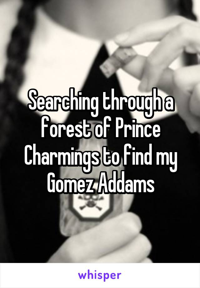Searching through a forest of Prince Charmings to find my Gomez Addams
