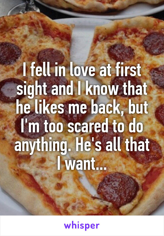 I fell in love at first sight and I know that he likes me back, but I'm too scared to do anything. He's all that I want...