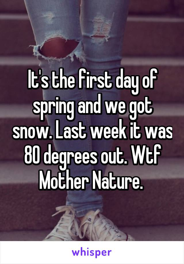 It's the first day of spring and we got snow. Last week it was 80 degrees out. Wtf Mother Nature.