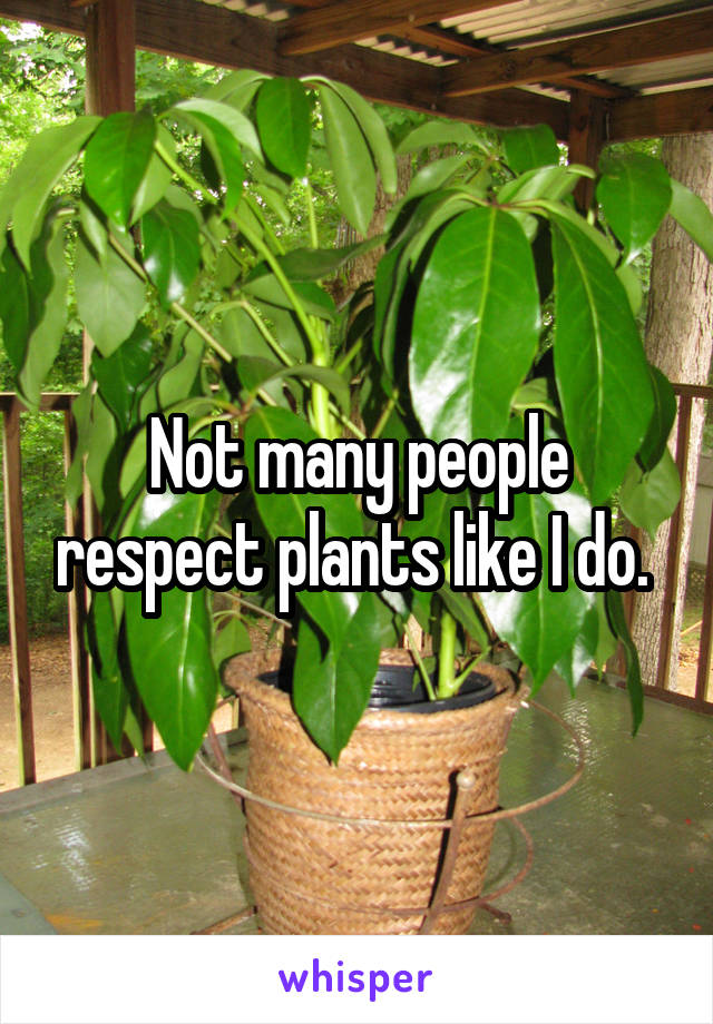 Not many people respect plants like I do.