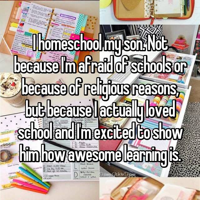 I homeschool my son. Not because I'm afraid of schools or because of religious reasons, but because I actually loved school and I'm excited to show him how awesome learning is.