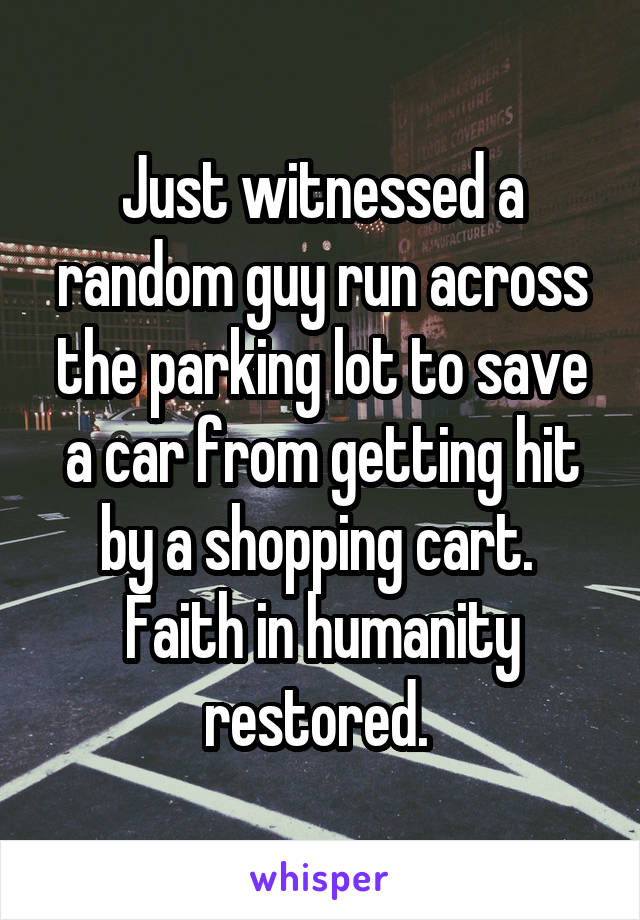 Just witnessed a random guy run across the parking lot to save a car from getting hit by a shopping cart.  Faith in humanity restored.