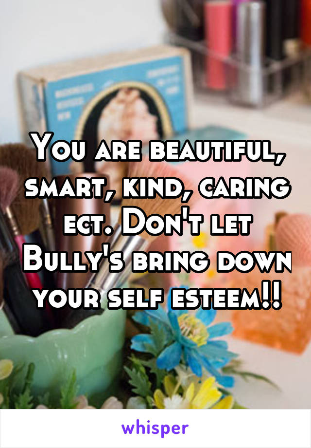 You are beautiful, smart, kind, caring ect. Don't let Bully's bring down your self esteem!!