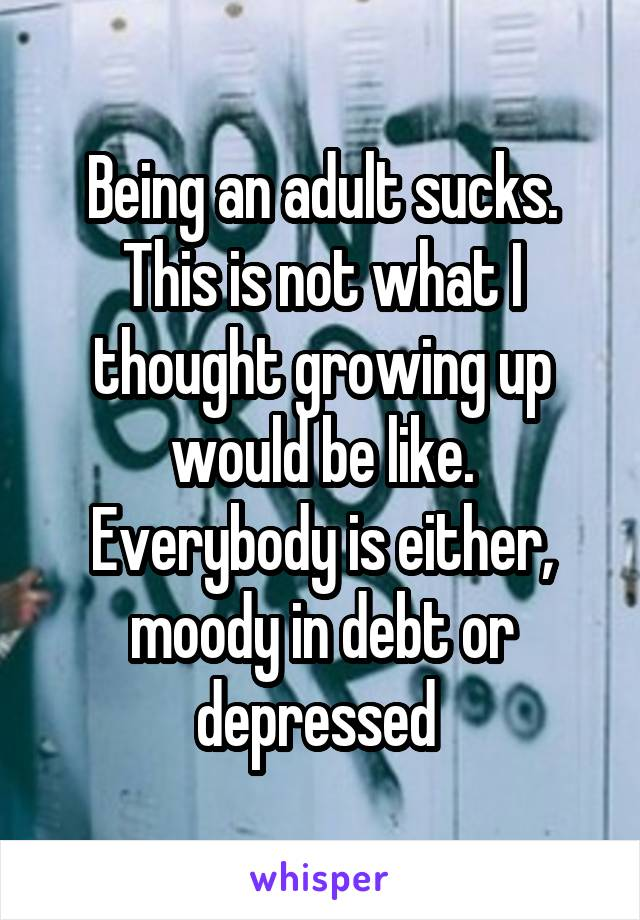 Being an adult sucks. This is not what I thought growing up would be like. Everybody is either, moody in debt or depressed