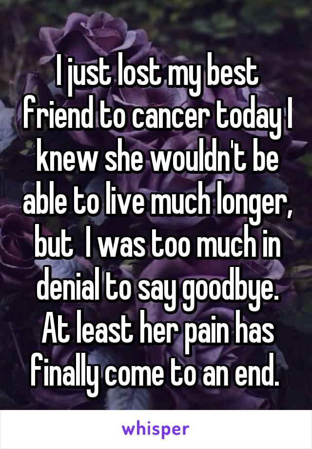 I just lost my best friend to cancer today I knew she wouldn't be able to live much longer, but  I was too much in denial to say goodbye. At least her pain has finally come to an end.
