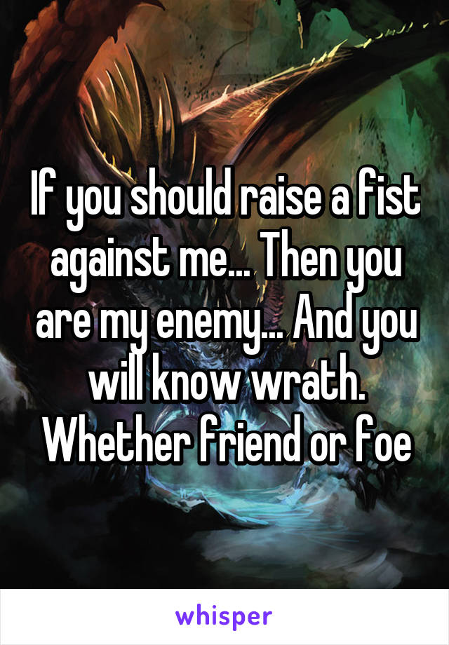 If you should raise a fist against me... Then you are my enemy... And you will know wrath. Whether friend or foe