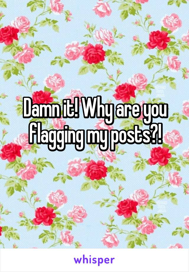 Damn it! Why are you flagging my posts?!