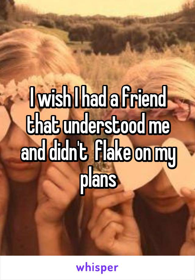 I wish I had a friend that understood me and didn't  flake on my plans