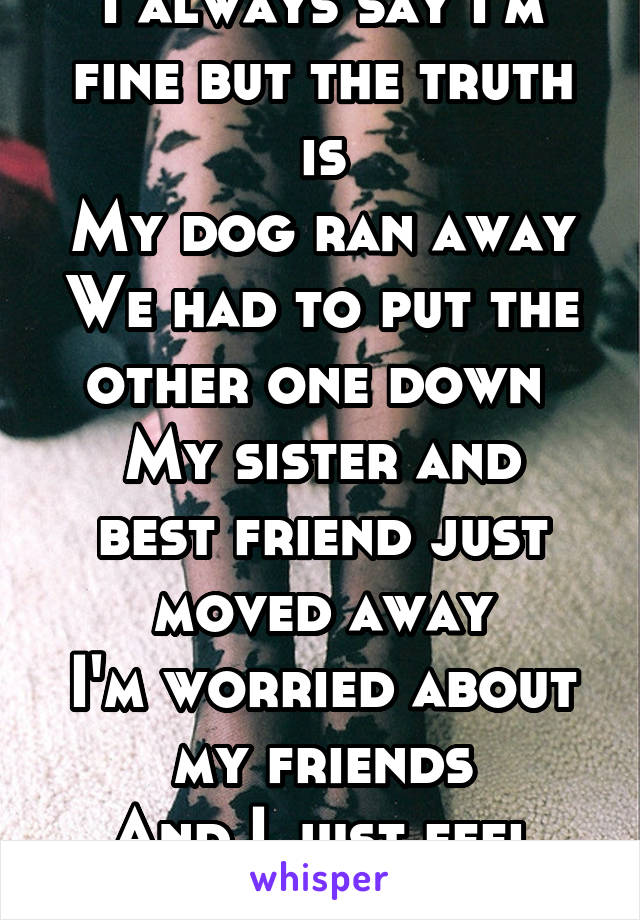 I always say I'm fine but the truth is My dog ran away We had to put the other one down  My sister and best friend just moved away I'm worried about my friends And I just feel tired 24/7