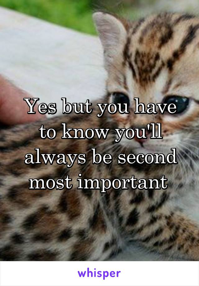 Yes but you have to know you'll always be second most important