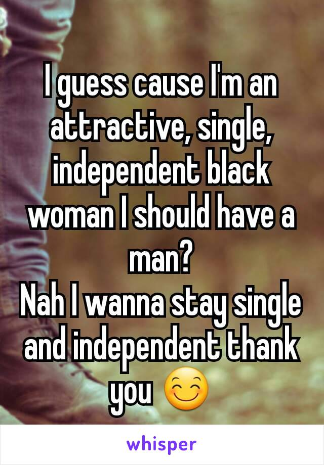 Independent woman Single black