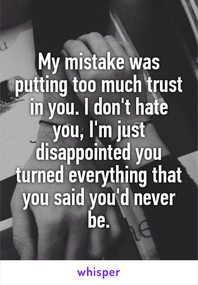 My mistake was putting too much trust in you. I don't hate you, I'm just disappointed you turned everything that you said you'd never be.