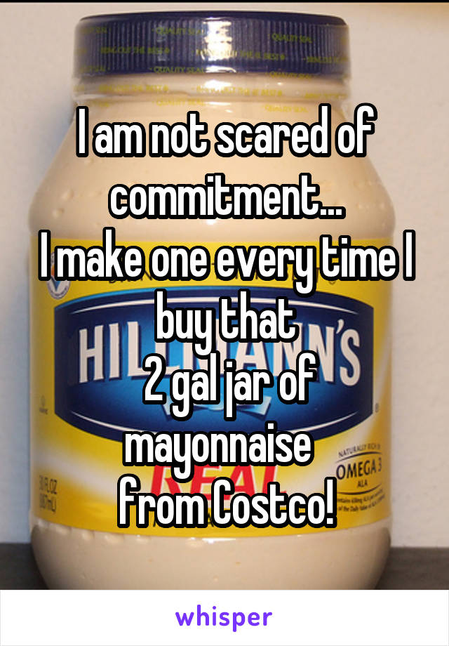 I am not scared of commitment... I make one every time I buy that  2 gal jar of mayonnaise   from Costco!