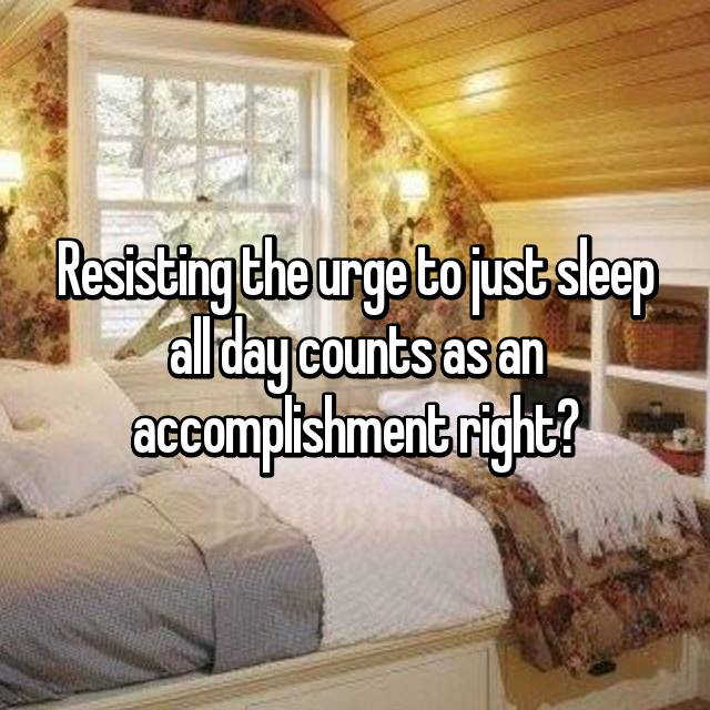 Resisting the urge to just sleep all day counts as an accomplishment right?