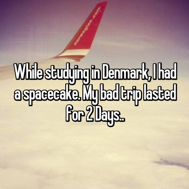 While studying in Denmark, I had a spacecake. My bad trip lasted for 2 Days..
