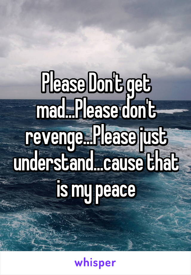 Please Don't get mad...Please don't revenge...Please just understand...cause that is my peace