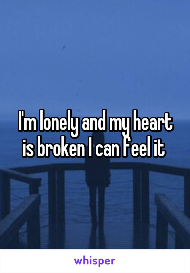 I'm lonely and my heart is broken I can feel it