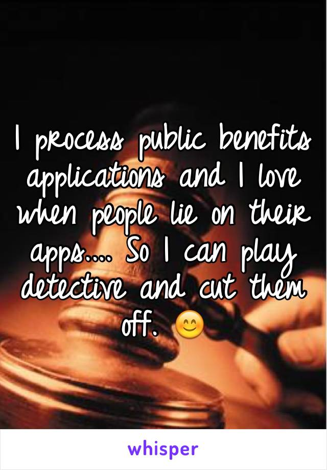 I process public benefits applications and I love when people lie on their apps.... So I can play detective and cut them off. 😊