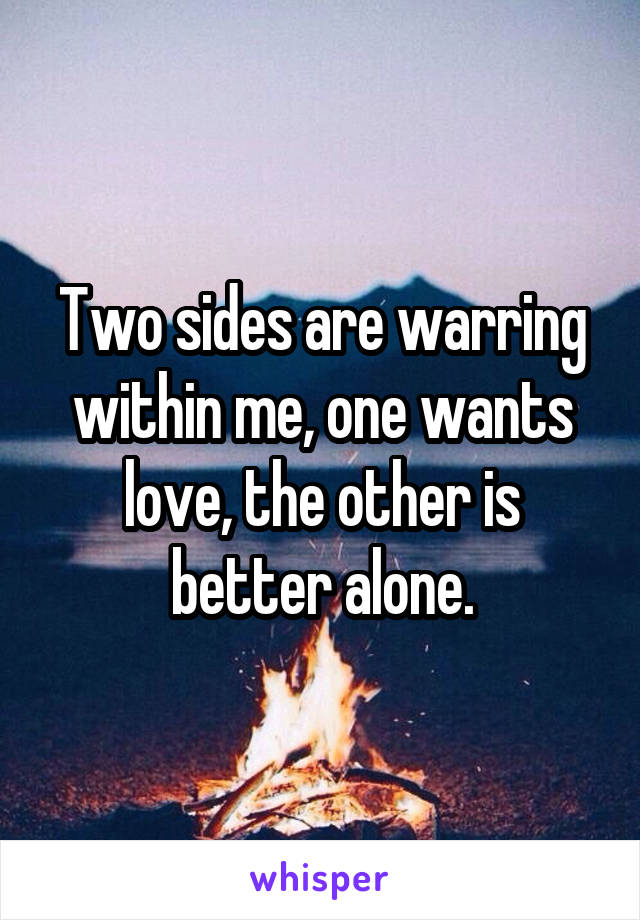 Two sides are warring within me, one wants love, the other is better alone.