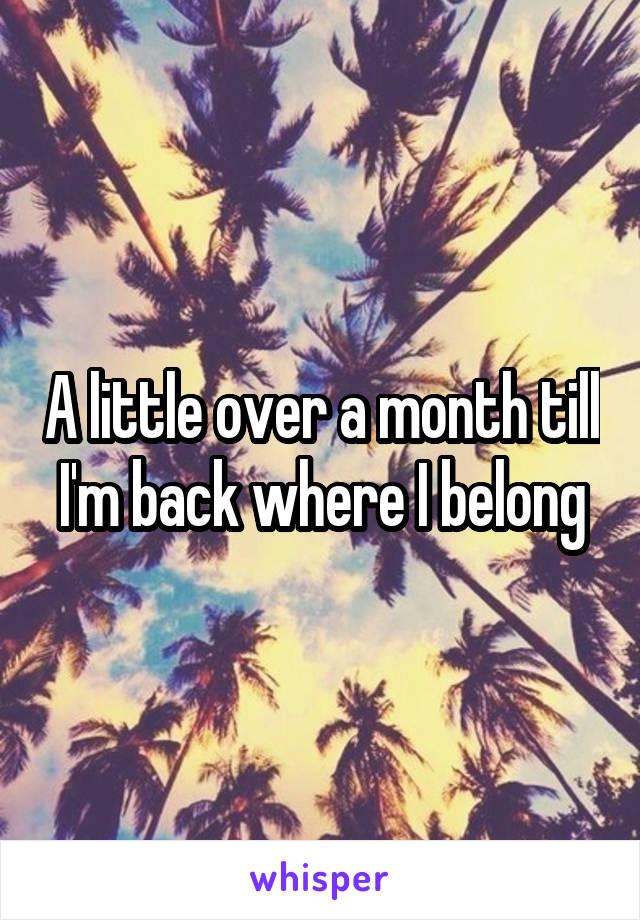 A little over a month till I'm back where I belong