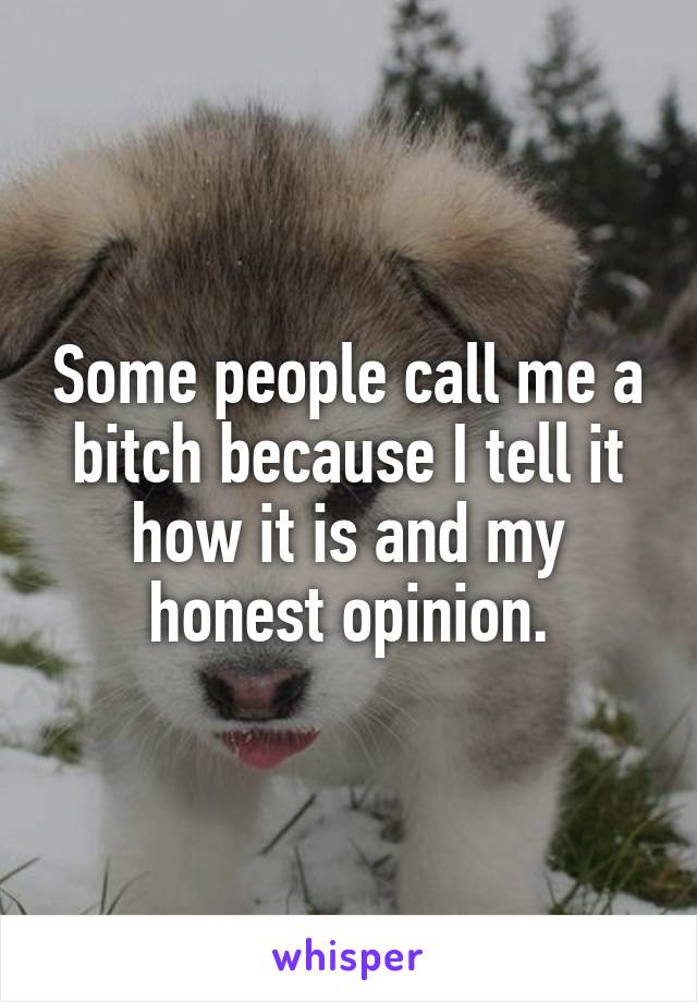 Some people call me a bitch because I tell it how it is and my honest opinion.